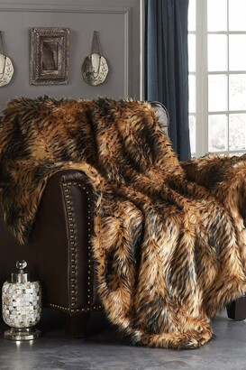 "Chic Home Bedding Piolo Two-Tone Faux Fur Blanket - 50"" x 60"" - Gold"