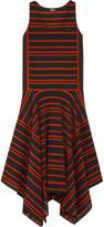 DKNY Striped silk crepe de chine midi dress