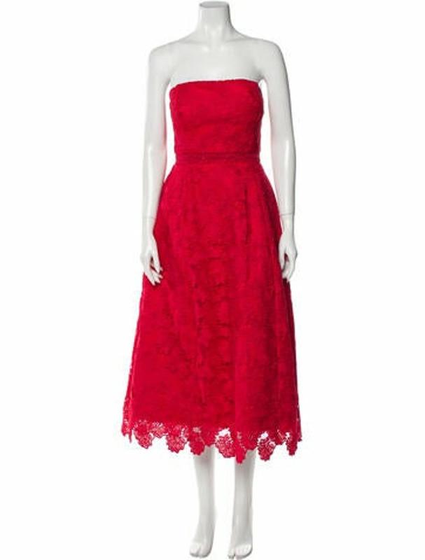 Nicholas Lace Pattern Midi Length Dress Red