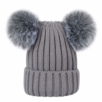 Lau's Womens Beanie Pom Hats Fluffy Bobble Hat with Detachable Pompom Grey