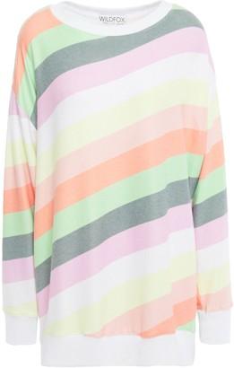 Wildfox Couture Roadtrip Rainbow Striped Fleece Sweatshirt