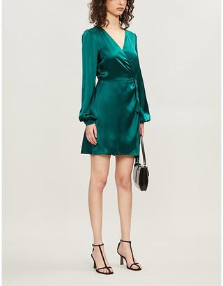 Reformation Starlight wrap-over puffed-sleeve silk mini dress