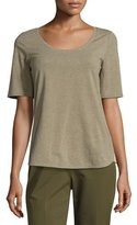 Lafayette 148 New York Chain-Trim Scoop-Neck Melange Jersey Top, Dark Green