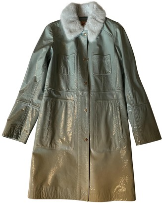 Meteo Green Leather Coat for Women