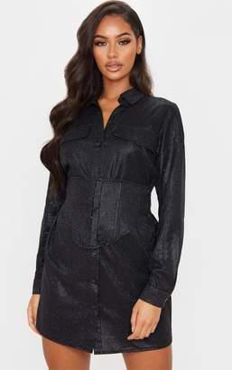 PrettyLittleThing Black Glitter Long Sleeve Waist Panel Shirt Dress
