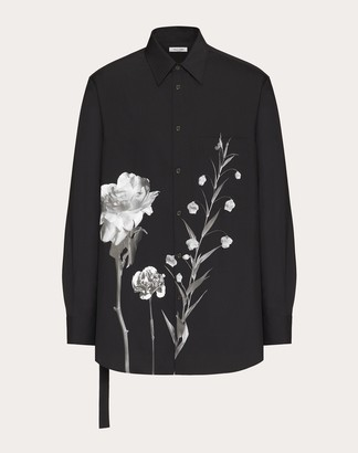 Valentino Long-sleeved Flowersity Print Shirt With Open Side And Tie Man Black Wool 84%, Mohair 16% 38