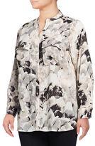Calvin Klein Plus Split Neck Roll-Sleeve Floral Blouse