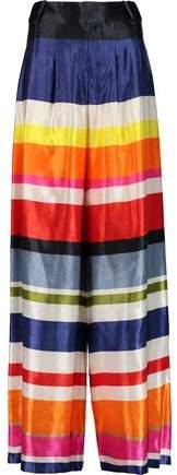 Alice + Olivia Scarlet Striped Cotton-Blend Satin Wide-Leg Pants