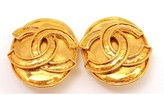 Chanel Vintage French Couture Gold Tone Double C Clip On Earrings