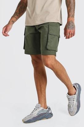 boohoo Mens Green Elastic Waist Cargo Short, Green