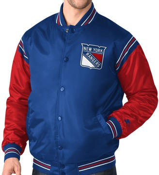 Men's Starter Royal/Red New York Rangers Enforcer Satin Varsity Full-Snap Jacket