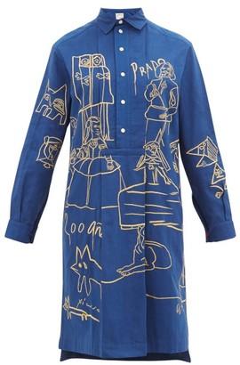 Kilometre Paris - Madrid Embroidered Cotton Shirt Dress - Womens - Navy Print