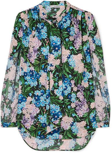 Balenciaga Floral-print Crepe Blouse - Blue