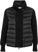 Moncler Quilted Shell And Wool Cardigan - Black