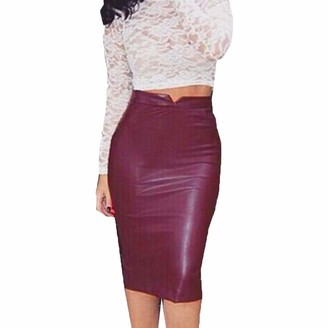 Goosun Faux Leather Pencil Skirt Below Knee Length Skirt Midi Bodycon Skirt for Womens High Waist Classic Slim Pencil Skirt Office Skirt Elegant Stretch Midi Bodycon Skirts Brown