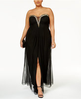 Betsy & Adam Plus Size Embellished Strapless Gown