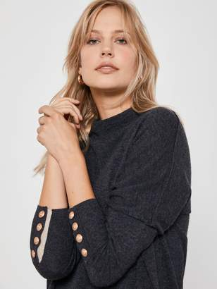 Mint Velvet Button Cuff Batwing Tunic Knit - Grey