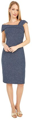 Vince Camuto Glitter Knit Ruched Dress (Steel) Women's Dress
