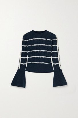 Self-Portrait Embellished Striped Cable-knit Cotton-blend Sweater - Midnight blue