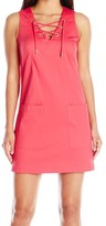 Calvin Klein Pink Women's Size 0P Petite Lace Up Pocket Shift Dress