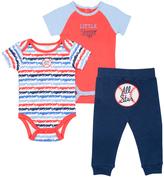 Cutie Pie Baby Blue & Orange Baseball Bodysuit Set - Infant