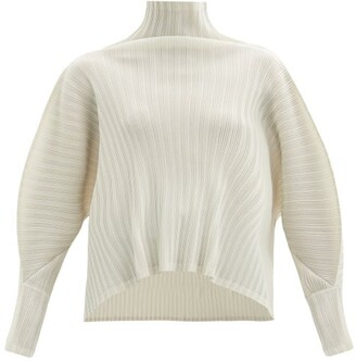 Pleats Please Issey Miyake High-neck Technical-pleated Top - Ivory