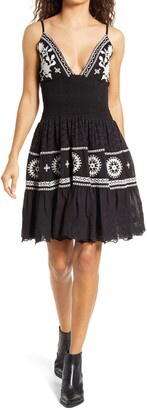 Area Stars Callie Smocked Lace Embroidered Minidress