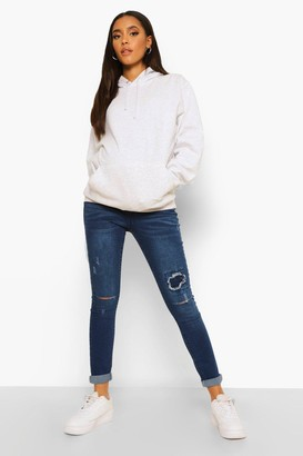 boohoo Maternity Ripped Detail Skinny Jean