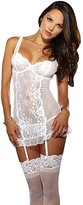 Bella Bridal lace sexy lingerie Teddy with Garter