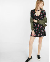 Express floral print strappy front trapeze dress