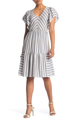 Caslon Stripe Flounce Hem Woven Dress (Regular & Petite)