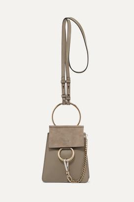 Chloé Faye Bracelet Leather And Suede Shoulder Bag - Gray