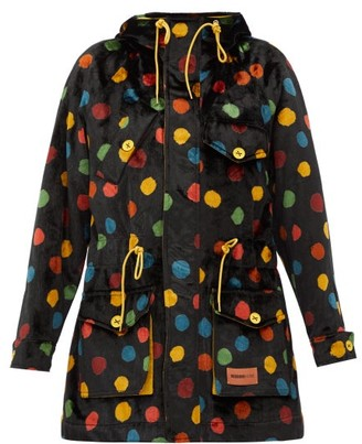 M Missoni Polka-dot Upcycled Cotton-velvet Hooded Parka - Black Multi