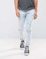 Liquor N Poker Skinny Jeans Ink Splatter Bleached Wash