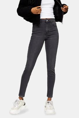 Topshop Washed Black Abraided Hem Jamie Skinny Jeans
