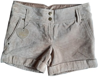 BEIGE Non Signe / Unsigned Leather Shorts for Women