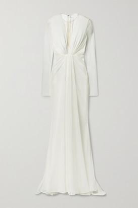 Talbot Runhof Ruched Lurex Gown - Ivory