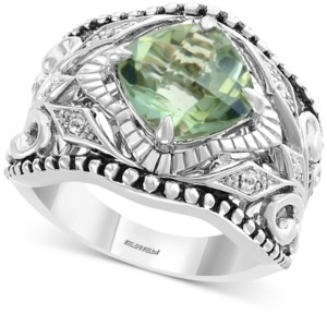 Effy Green Quartz (3 ct. t.w.) & White Sapphire (1/20 ct. t.w.) Statement Ring in Sterling Silver