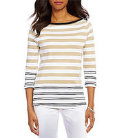 Westbound Boat Neck 3/4 Sleeve Striped Top