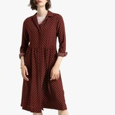 La Redoute Collections Printed Button-Through Midi Shirt Dress with Long Sleeves