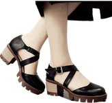 Yougao Women's Brush Color Roman Shoes with Straps Summer High Heel Casual Sandals Asian 38