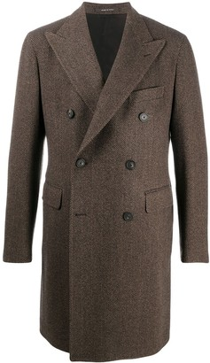 Tagliatore Herringbone-Stripe Double-Breasted Coat