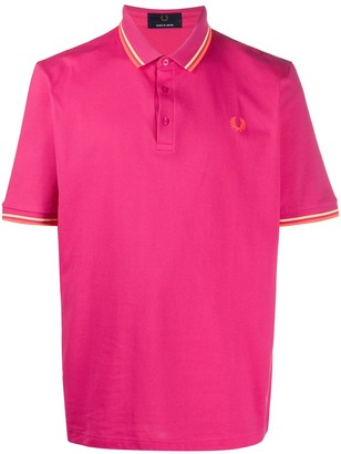Fred Perry Logo Embroidered Stripe Detail Polo Shirt