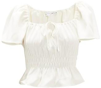 Rhode Resort Grace Smocked Peplum-hem Top - Womens - White