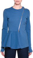 Stella McCartney Strong Lines Asymmetric-Zip Peplum Jacket, Steel Blue