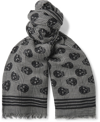 Alexander McQueen Fringed Logo-Print Wool And Silk-Blend Scarf