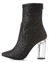 Charlotte Russe Glitter Lucite Heel Booties