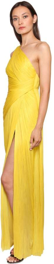 Maria Lucia Hohan One Shoulder Laminated Plisse Gown