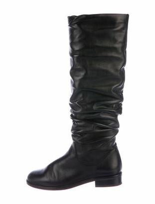 Stuart Weitzman Flat Scrunchy Leather Slouch Boots Black