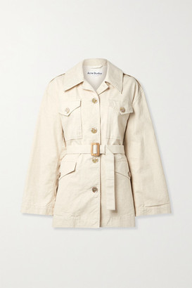 Acne Studios Belted Cotton And Linen-blend Canvas Jacket - Cream
